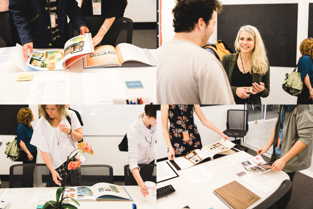 Reviewers and presenters peruse portfolios at AIGA's THE MIX.
