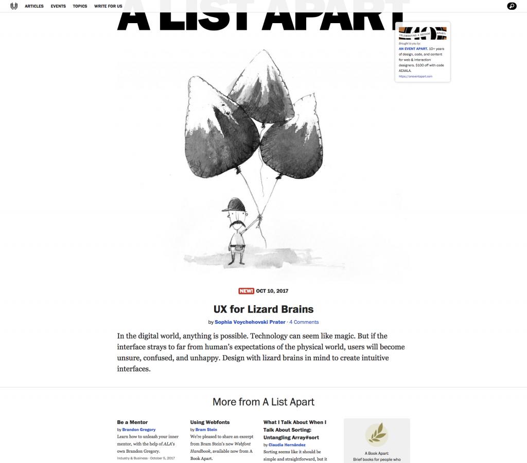 A List Apart homepage