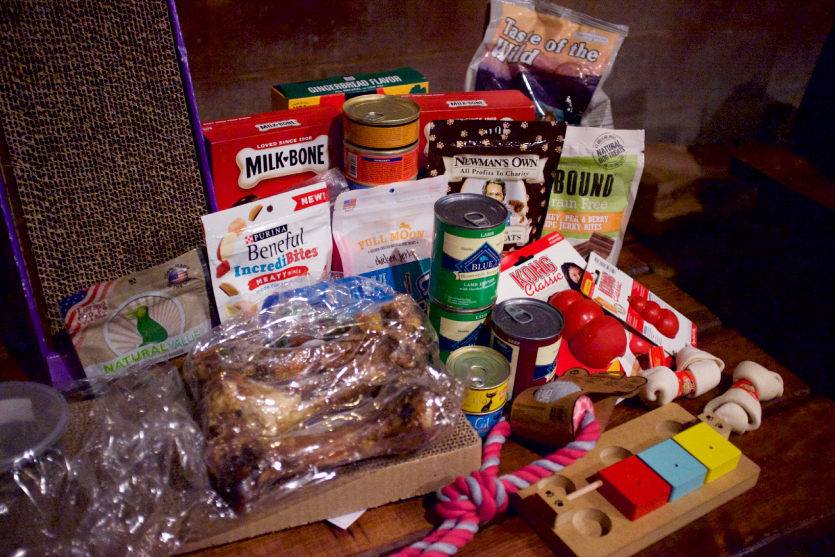 A pile of goods donated for the Oregon Humane Society.