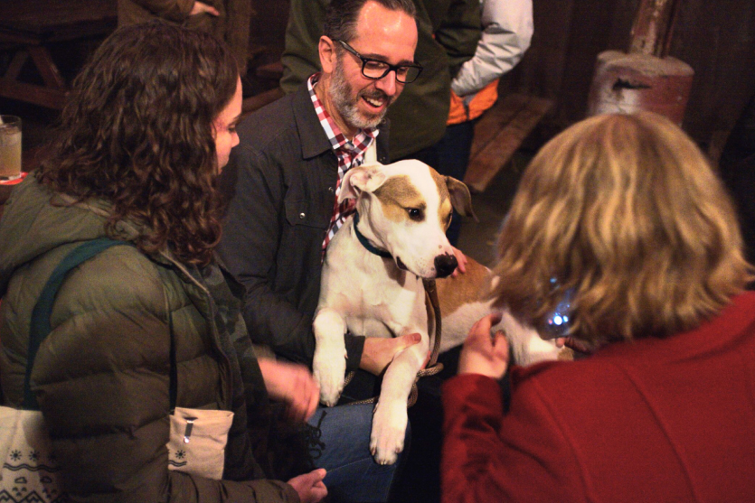 A dog at the Lucky Lab Brew Pub for AIGA Portland's Holiday dMob!