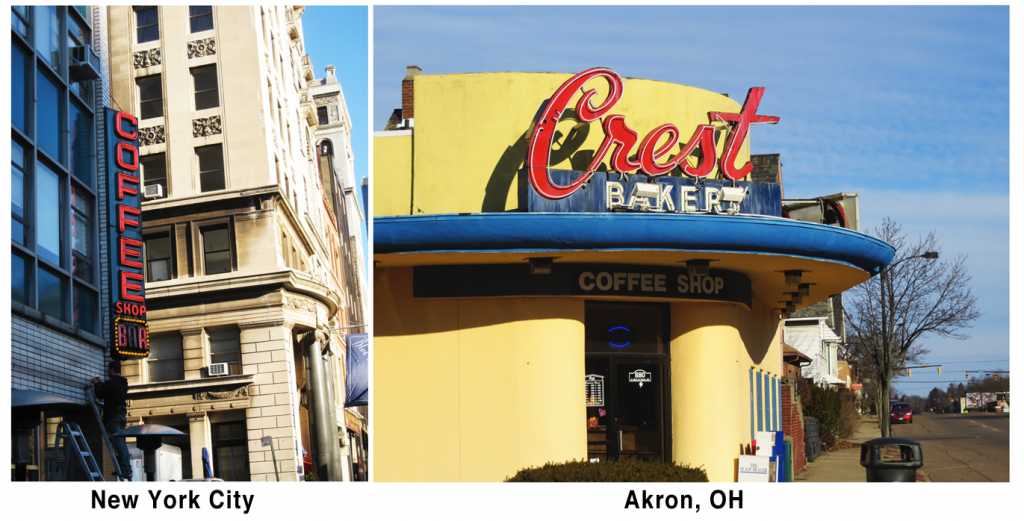 Signage in various cities