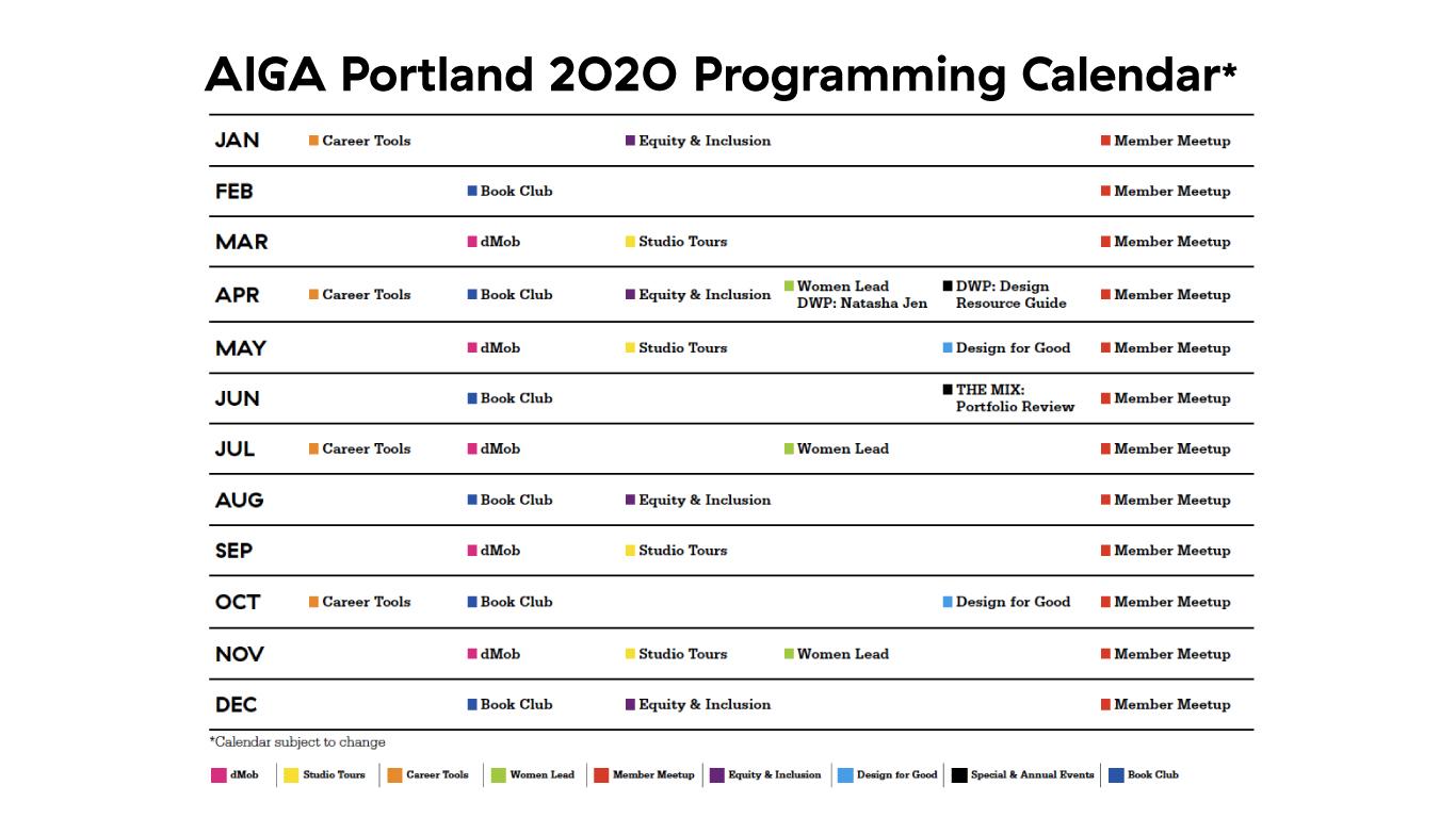 AIGA Portland 2020 Programming Calendar